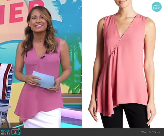 Fluid Silk Georgette Top by Theory worn by Ginger Zee (Ginger Zee) on Good Morning America