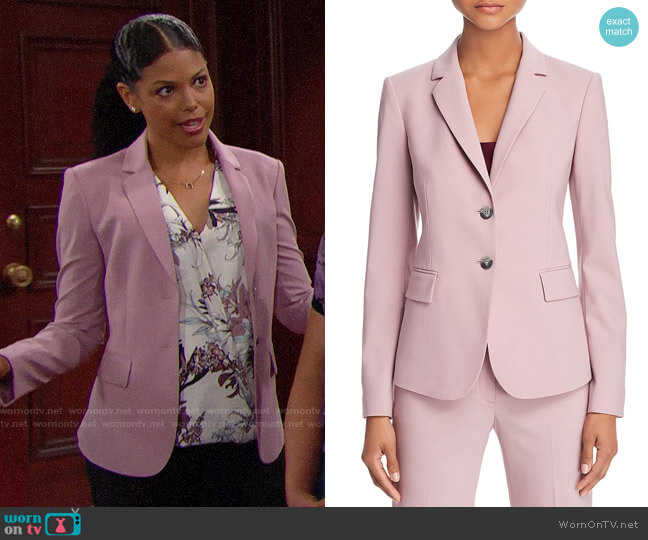 Theory Carissa Blazer in Dusty Lilac worn by Maya Avant (Karla Mosley) on The Bold & the Beautiful