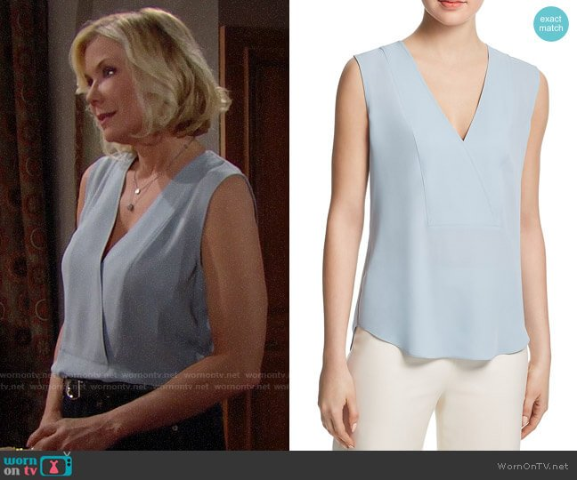 Theory Silk Crossover Top worn by Brooke Logan (Katherine Kelly Lang) on The Bold & the Beautiful