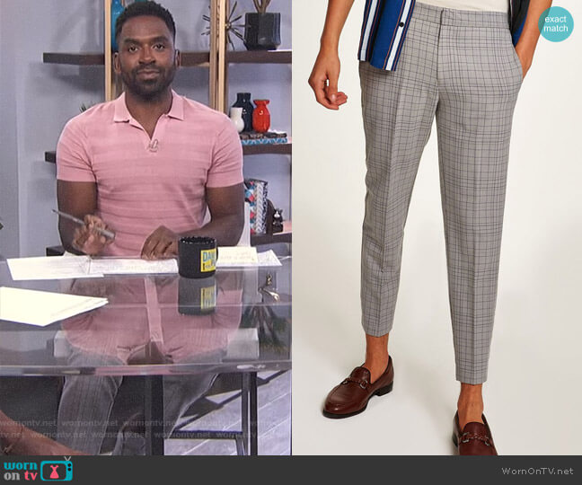 Grid Check Slim Cropped Dress Pants by Topman worn by Justin Sylvester  on E! News
