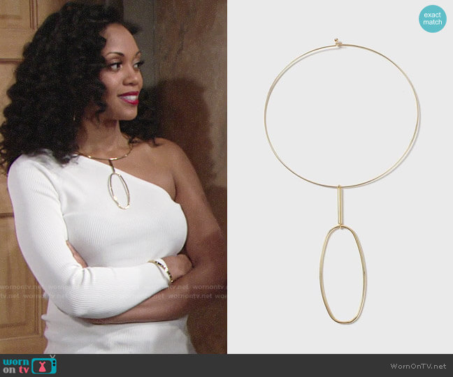 Topshop House of Freedom Fine Shape Necklace worn by Hilary Curtis (Mishael Morgan) on The Young & the Restless