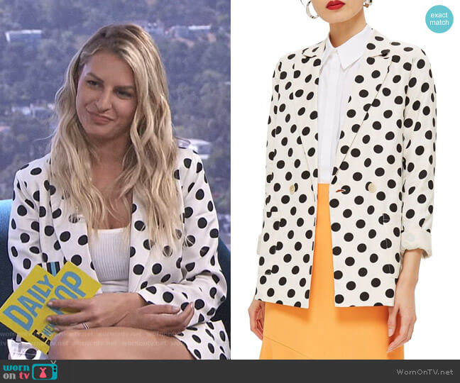 Polka Dot Blazer by Topshop worn by Morgan Stewart  on E! News