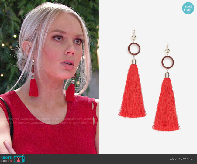 Topshop Circle and Tassel Drop Earrings worn by Abby Newman (Melissa Ordway) on The Young & the Restless