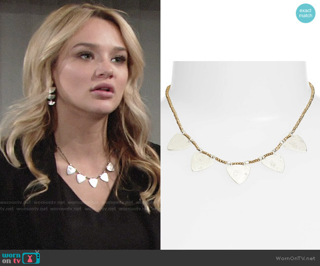 Treasure & Bond Etched Plate Necklace worn by Summer Newman (Hunter King) on The Young & the Restless