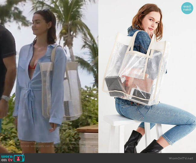 Grid Plastic Shopper Tote Bag by Urban Outfitters worn by Callie Jacob (Maia Mitchell) on The Fosters