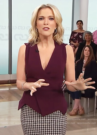 Megyn's purple asymmetric top and houndstooth skirt on Megyn Kelly Today
