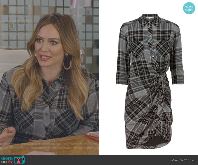 'Sierra' Plaid Dress by Veronica Beard worn by Kelsey Peters (Hilary Duff) on Younger