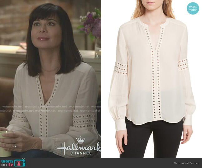 Willa Eyelet Trim Blouse by Veronica Beard worn by Cassandra Nightingale (Catherine Bell) on Good Witch