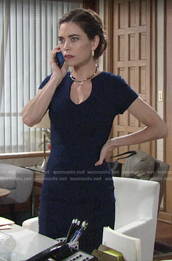 Victoria's navy v-neck sheath dress on The Young and the Restless