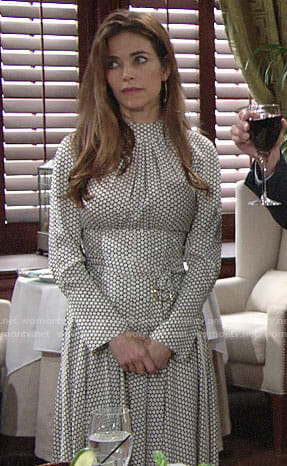 Victoria's polka dot long sleeve midi dress on The Young and the Restless