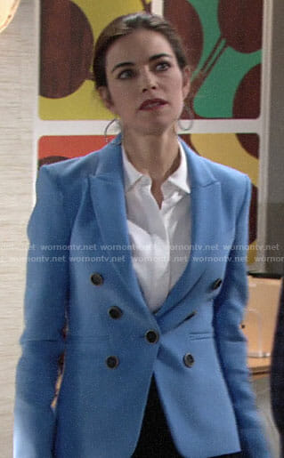 Victoria's blue blazer on The Young and the Restless