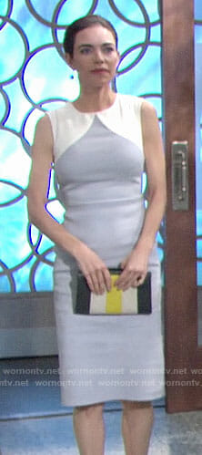 Victoria's grey colorblock sheath dress on The Young and the Restless