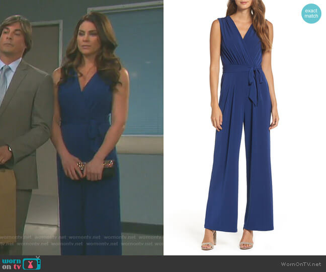 Wornontv Chloes Blue Wrap Jumpsuit On Days Of Our Lives Nadia