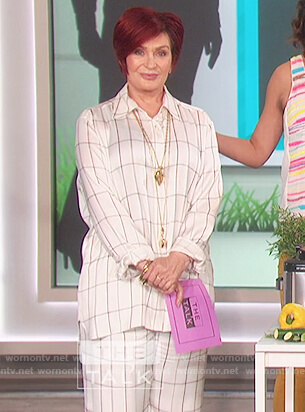 Sharon's white checked blouse and pants on The Talk