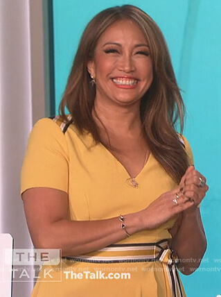 Carrie Inaba's yellow stripe belted dress on The Talk