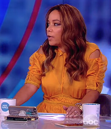 Sunny's yellow cold shoulder ruched sleeve dress on The View