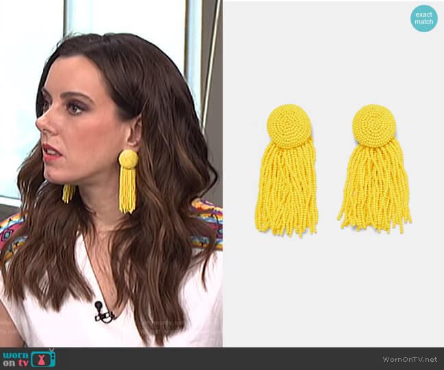 Beaded Earrings with Fringing by Zara worn by Melanie Bromley on E! News