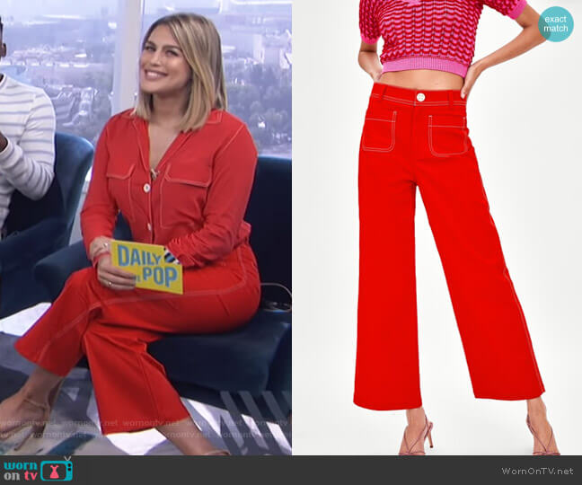 Culottes with Topstitiching Detail by Zara worn by Carissa Loethen Culiner on E! News