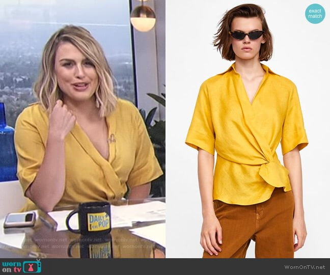 Draped Linen Top by Zara worn by Carissa Loethen Culiner on E! News