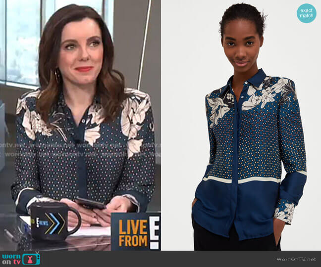 Floral and Polka Dot Shirt by Zara worn by Melanie Bromley  on E! News