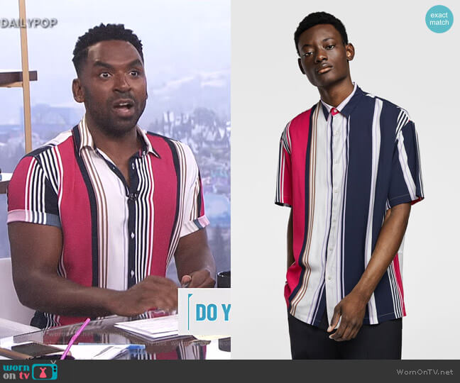 Flowy Striped Shirt by Zara worn by Justin Sylvester on E! News