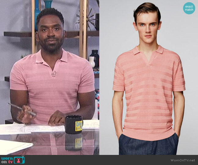 Knit Polo Shirt by Zara worn by Justin Sylvester  on E! News