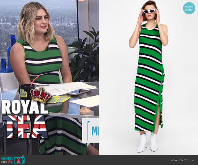 Long Striped Dress by Zara worn by Carissa Loethen Culiner  on E! News