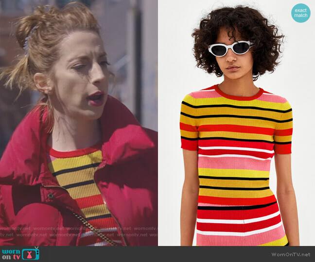 Multicolored Striped Sweater by Zara worn by Lauren (Molly Bernard) on Younger
