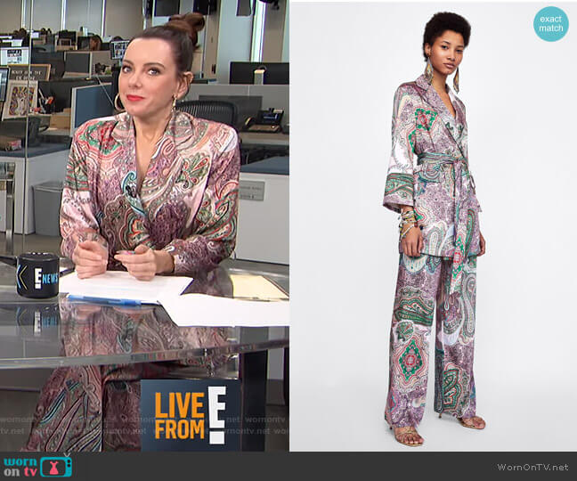 Paisley Print Blazer-Style Dress and Pants by Zara worn by Melanie Bromley on E! News
