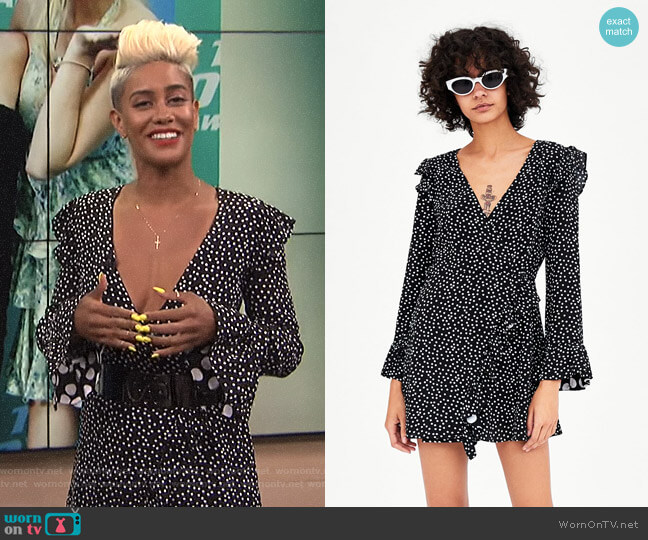 Polka Dot Jumpsuit Dress by Zara worn by Sibley Scoles on E! News