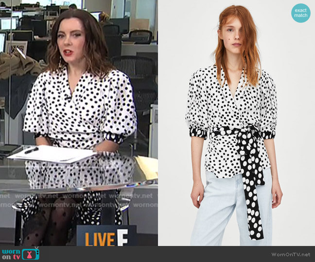 Polka Dot Print Top by Zara worn by Melanie Bromley  on E! News