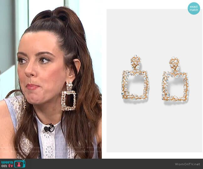 Rectangular Earrings by Zara  worn by Melanie Bromley on E! News