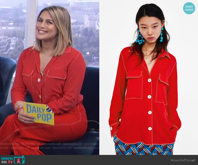 Shirt with Contrasting Top Stitch by Zara worn by Carissa Loethen Culiner  on E! News