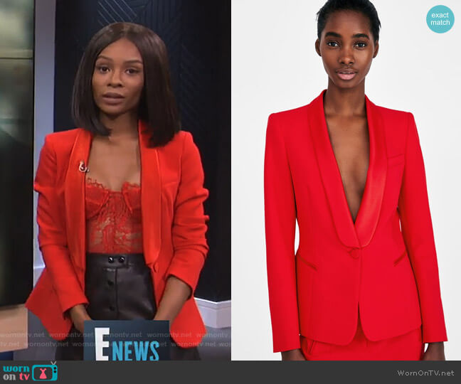Tuxedo Style Blazer by Zara worn by Zuri Hall (Zuri Hall) on E! News