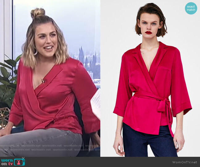 Wrap Blouse with Bow by Zara worn by Carissa Loethen Culiner on E! News