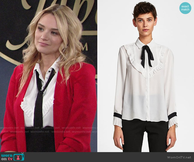 Zara Bib Front Shirt with Bow Detail worn by Hunter King on The Young & the Restless
