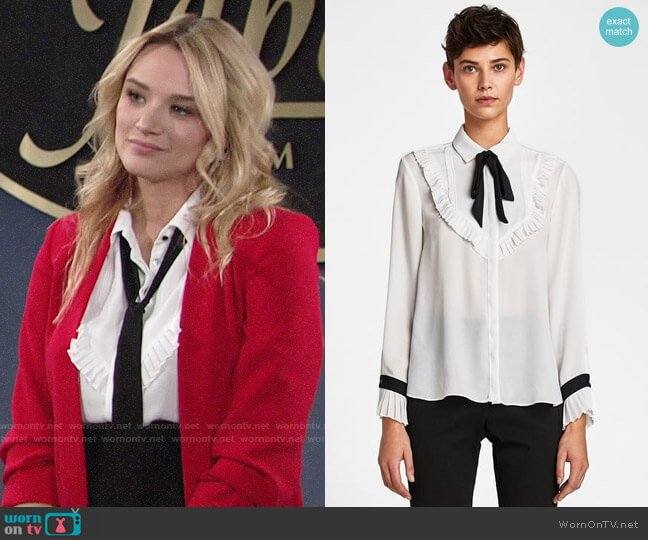 Zara Bib Front Shirt with Bow Detail worn by Summer Newman (Hunter King) on The Young & the Restless