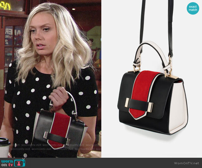 Zara Contrast Mini City Bag worn by Abby Newman (Melissa Ordway) on The Young & the Restless