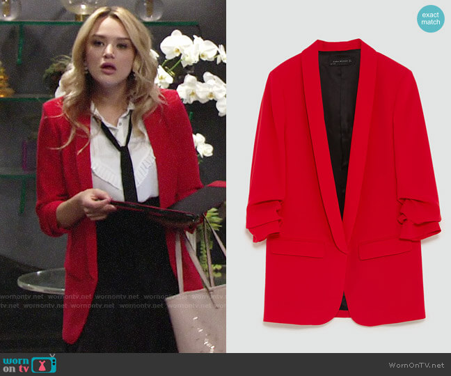 Zara Crepe Blazer worn by Summer Newman (Hunter King) on The Young & the Restless