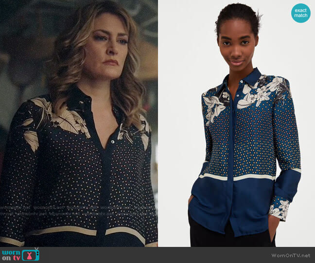 Zara Floral and Polka Dot Shirt  worn by Alice Cooper (Mädchen Amick) on Riverdale