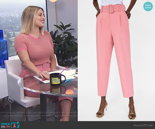 Pants with Belt by Zara worn by Carissa Loethen Culiner  on E! News