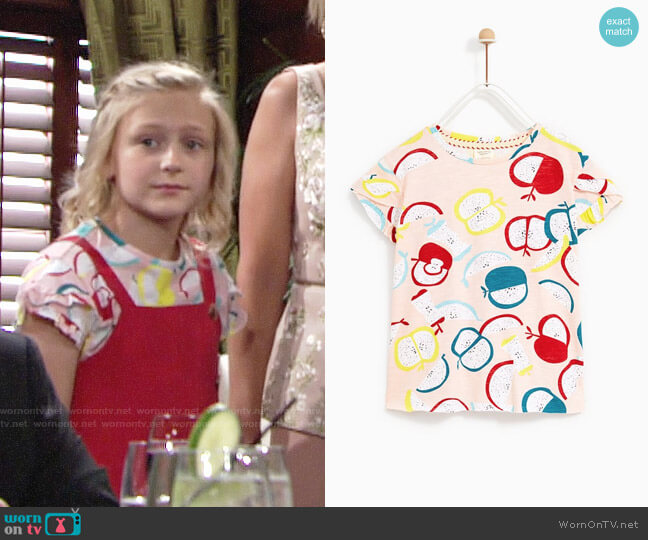 Zara Printed T-shirt worn by Alyvia Alyn Lind on The Young & the Restless