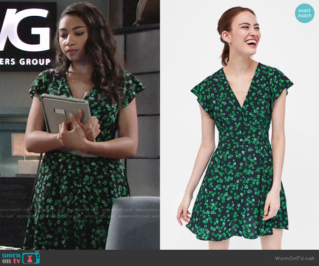 Zara Short Floral Print Dress worn by Shauna (Camryn Hamm) on The Young & the Restless