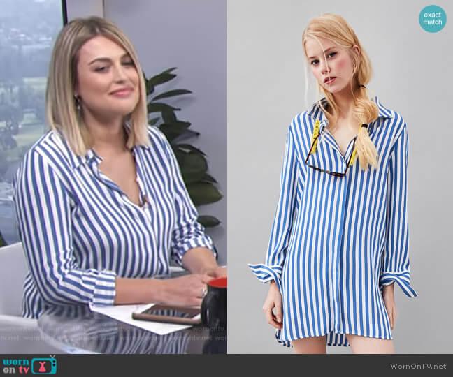 Striped Print Shirt by Zara worn by Carissa Loethen Culiner on E! News