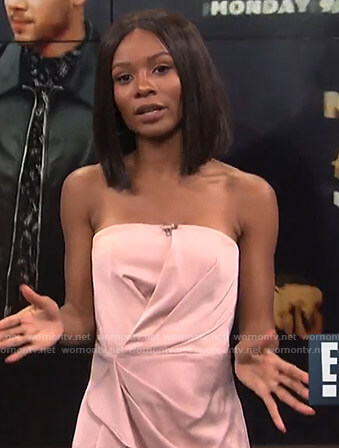 Zuri's pink ruffle front strapless dress on E! News Daily Pop