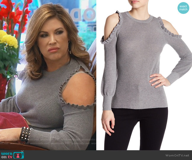 Rib-Knit Cold-Shoulder Sweater by Dolce Cabo worn by Emily Simpson on The Real Housewives of Orange County