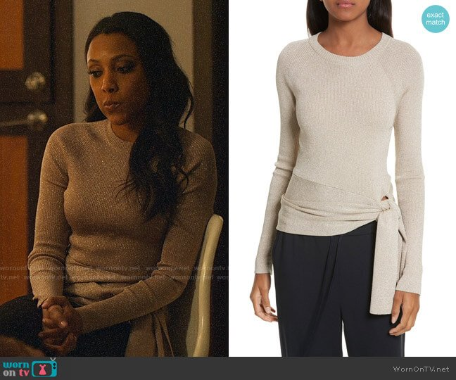 3.1 Phillip Lim Metallic Side Tie Sweater worn by Noelle (Meagan Holder) on UnReal