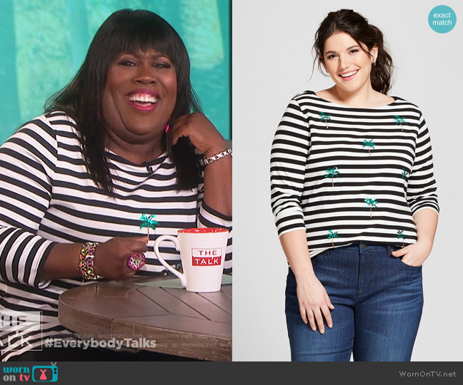 Striped Sequin Palm Trees Boatneck 3/4 Sleeve T-shirt by A New Day at Target worn by Sheryl Underwood  on The Talk