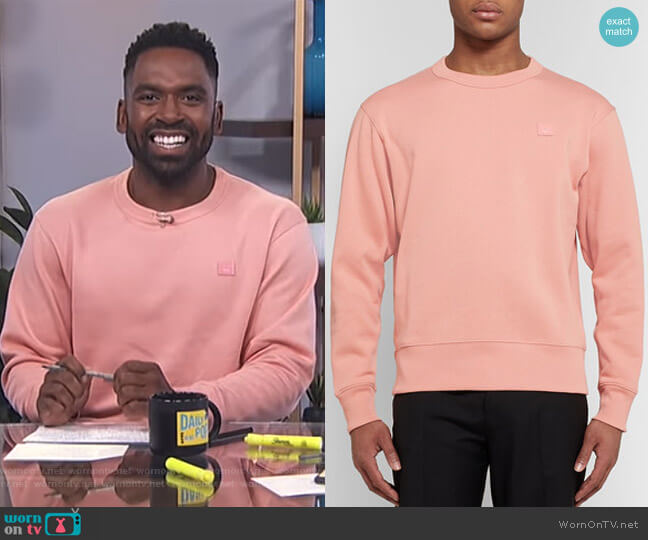Fairview Fleece-Back Cotton-Jersey Sweatshirt by Acne Studios worn by Justin Sylvester on E! News