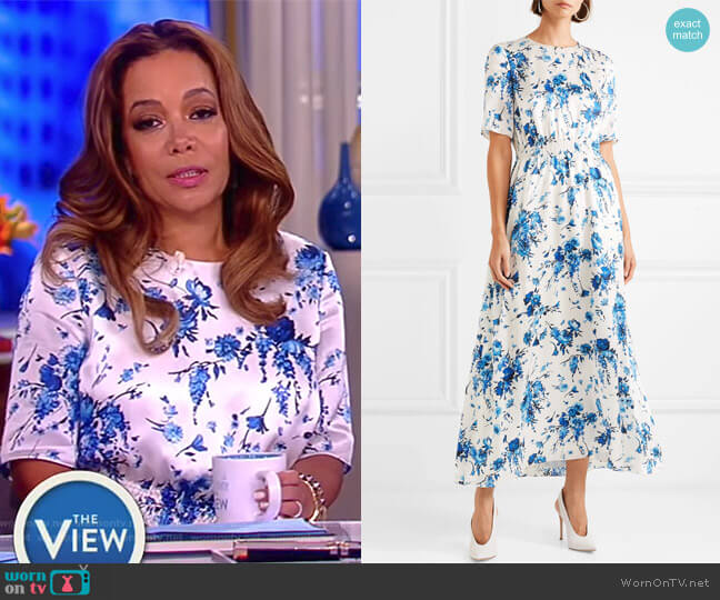Floral-print hammered-silk maxi dress by Adam Lippes worn by Sunny Hostin on The View